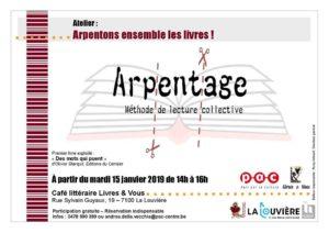 Arpentage : méthode de lecture collective @ Livre et Vous | La Louvière | Wallonie | Belgique